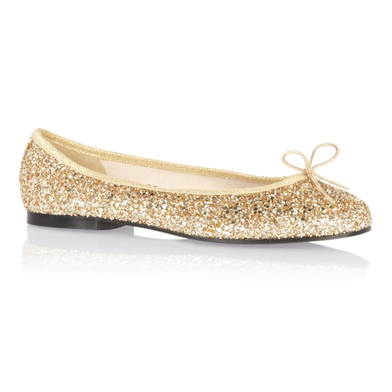 French sole Henrietta gold glitter